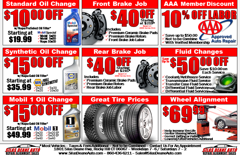 Silas Deane Auto Coupons